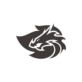 Silhueta da cabeça do dragão e logotipo do vetor do símbolo da chama de fogo na cor preto e branco