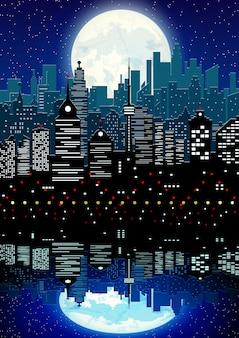 Silhueta da cidade e o céu noturno com reflexão