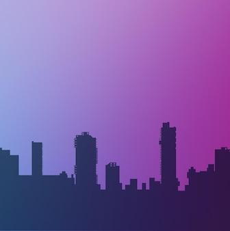 Silhueta da estrutura da cidade, rua moderna urbana de arquitetura com um edifício, uma torre,