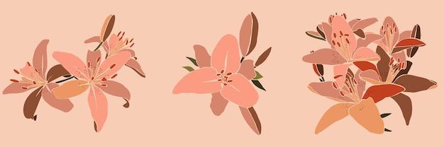 Silhueta da flor da orquídea em um estilo abstrato simples contemporâneo em um fundo branco. ilustração vetorial para impressão de camisetas, cartão, pôster