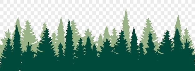 Silhueta da floresta de coníferas. fundo da floresta. paisagem de florestas. ilustração vetorial plana