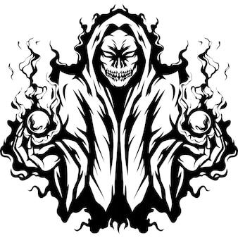 Silhueta da ilustração da mascote do mago do crânio