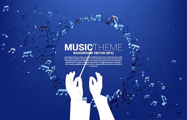 Silhueta da mão do maestro com fluxo de dança de nota de melodia de música.