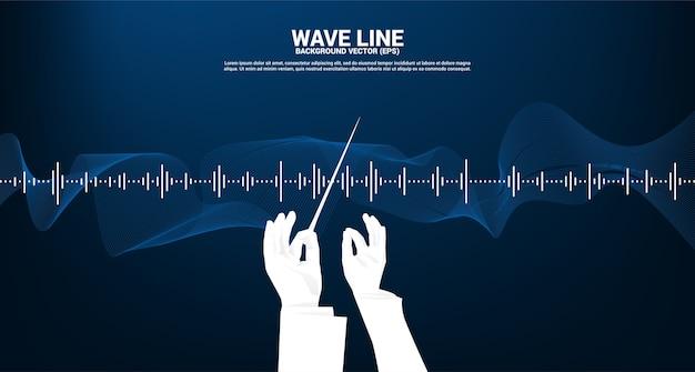 Silhueta da mão do maestro com fundo de equalizador de música de onda sonora.