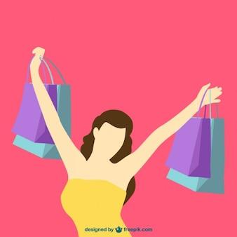 Silhueta da menina de compra