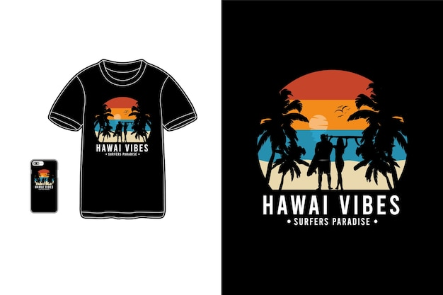 Silhueta da mercadoria da camiseta hawaii vibes
