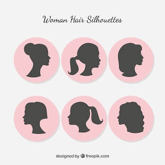 Silhueta da mulher com cabelo estilo
