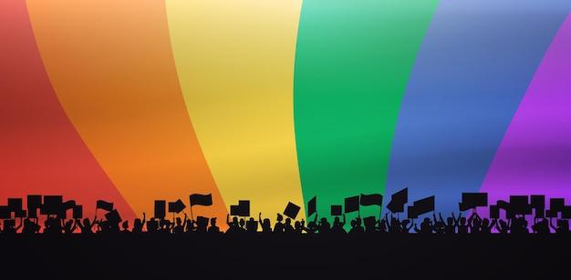 Silhueta da multidão de manifestantes segurando cartazes de demonstração lgbt fundo da bandeira do arco-íris