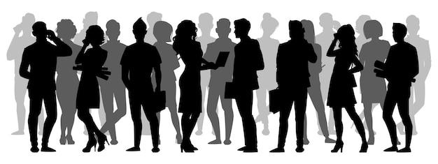 Silhueta da multidão. pessoas agrupam silhuetas de sombras, personagens anônimos adultos masculinos e femininos