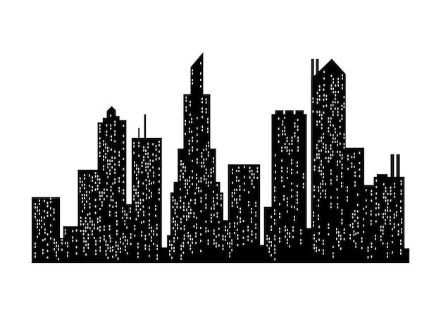 Silhueta da paisagem urbana. edifício da cidade, cidade noturna e silhueta do panorama urbano horizontal. paisagem urbana moderna. vista panorâmica monocromática.