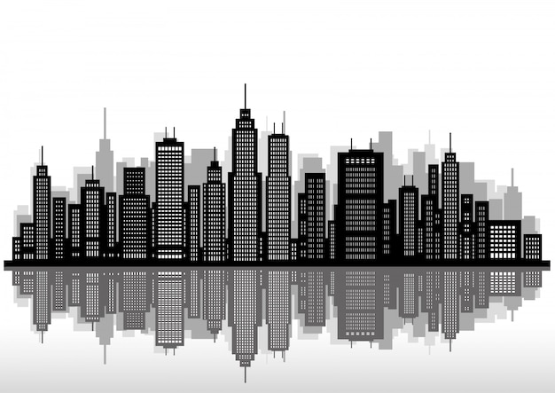 Silhueta da paisagem urbana