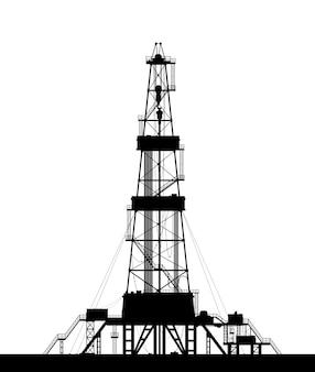 Silhueta da plataforma petrolífera isolada no fundo branco.