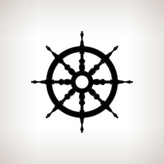 Silhueta da roda do navio em uma ilustração vetorial de fundo claro, preto e branco