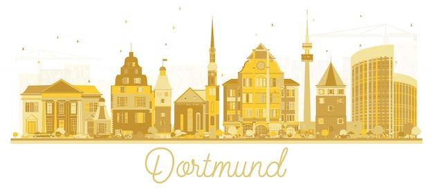 Silhueta da skyline da cidade de dortmund alemanha com os edifícios dourados isolados no branco.