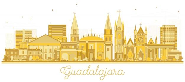 Silhueta da skyline de guadalajara cidade do méxico com os edifícios dourados isolados no branco.