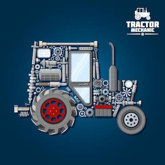 Silhueta das peças mecânicas do símbolo do trator com rodas dianteiras e motrizes
