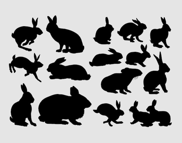 Silhueta de ação de animal de estimação de coelho e coelho