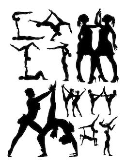 Silhueta de aeróbica e dança