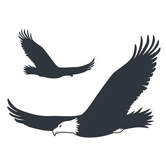 Silhueta de águia voadora elemento animal da natureza selvagem