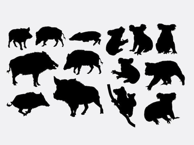 Silhueta de animais selvagens de javali e koala