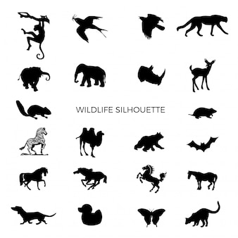 Silhueta de animais selvagens
