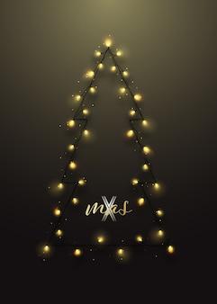Silhueta de árvore de natal com festão.