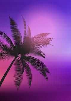 Silhueta de árvore de palma no fundo gradiente
