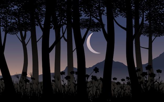 Silhueta de árvore floresta com lua