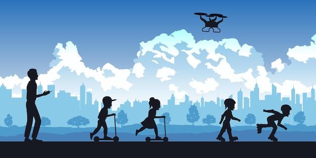 Silhueta de atividades de pessoas no parque, homem brincando de drone, crianças brincando de scooter e ilustração de patins