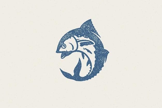 Silhueta de atum fresco para o mercado de alimentos e restaurante de frutos do mar com efeito de carimbo desenhado à mão