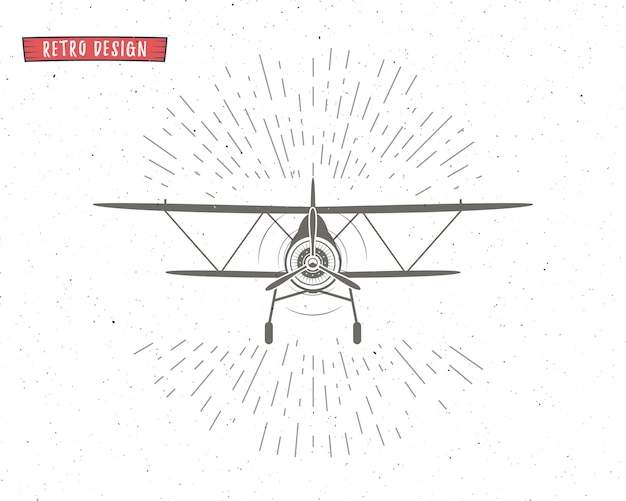 Silhueta de avião vintage com sunbursts.