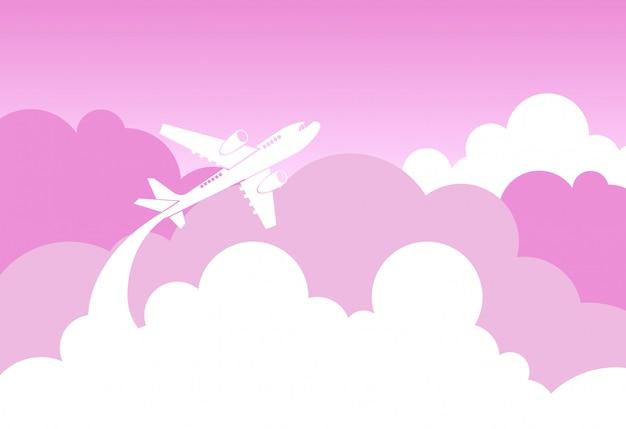 Silhueta de avião voar sobre nuvens cor de rosa e céu amor