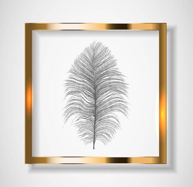 Silhueta de bela pena de avestruz natural. ilustração vetorial. eps10