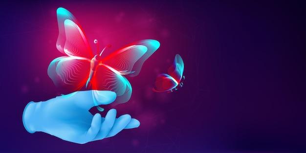 Silhueta de borboleta voando para longe da mão humana em uma luva de borracha realista. ilustração em vetor 3d com um contorno abstrato de mariposa. banner horizontal do conceito de metamorfose em estilo de arte de linha de néon