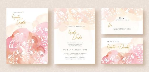 Silhueta de borboletas e folhas com respingos de aquarela no convite de casamento