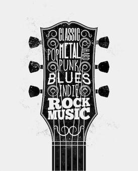 Silhueta de braço de guitarra preta com legendas de estilos de música rock.