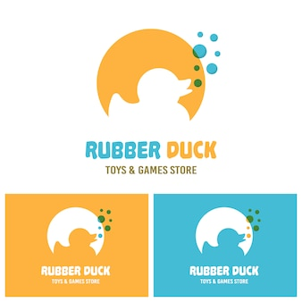Silhueta de brinquedo pato de borracha com modelo de logotipo de vetor de bolhas azuis