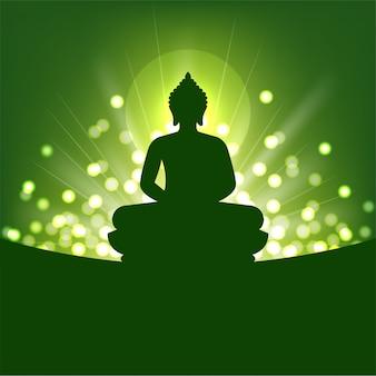 Silhueta de buda e luz abstrata para o budismo