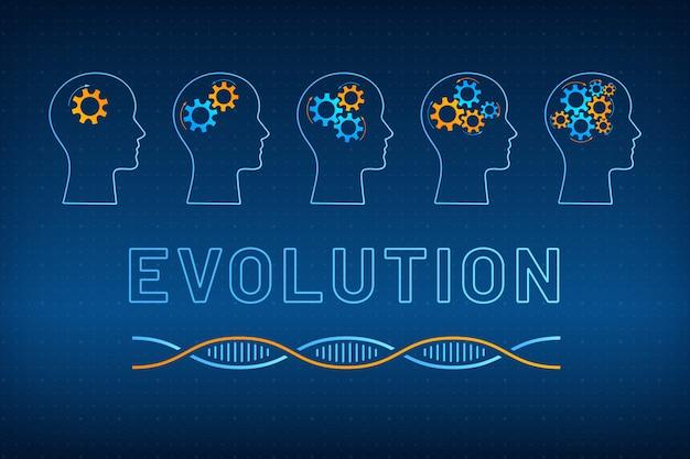 Silhueta de cabeça com ilustração de conceito de evolução de cérebro de engrenagem