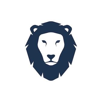 Silhueta de cabeça de leão. ilustração criativa do modelo de logotipo. sinal gráfico da cara do gato selvagem animal.