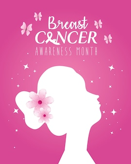 Silhueta de cabeça de mulher com flores de design, campanha e tema de prevenção do câncer de mama