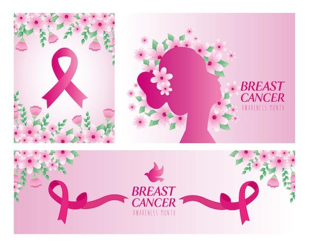 Silhueta de cabeça de mulher e fita rosa com flores de design, campanha e tema de prevenção do câncer de mama