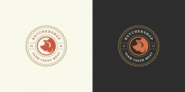 Silhueta de cabeça de porco com logotipo de açougue, boa para emblema de fazenda ou restaurante