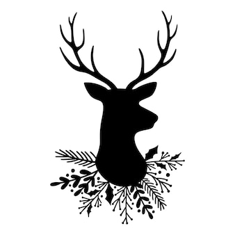 Silhueta de cabeça de veado e chifres e coroa de folhas ilustração em vetor renas de natal