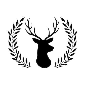 Silhueta de cabeça de veado e chifres e coroa de folhas ilustração vetorial