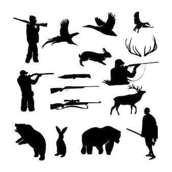 Silhueta de caça preta e branca com um conjunto de objetos monocromáticos ou elementos