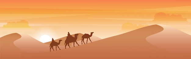 Silhueta de camelo atravessando o deserto.