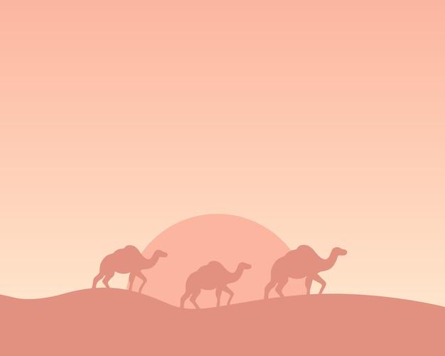 Silhueta de camelos atravessando o deserto. ilustração.