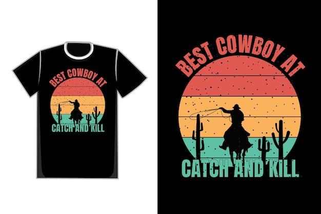 Silhueta de camiseta cowboy deserto estilo retro vintage