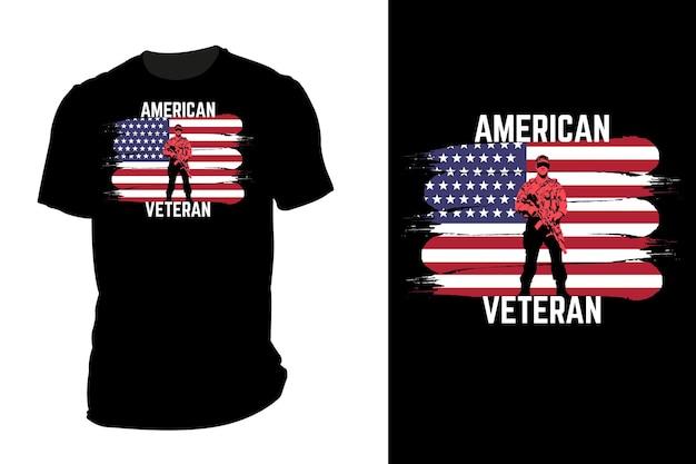 Silhueta de camiseta de maquete americano veterano retrô vintage